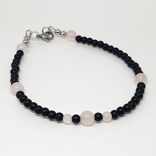 Anklet Collection - Onyx and Rose Quartz