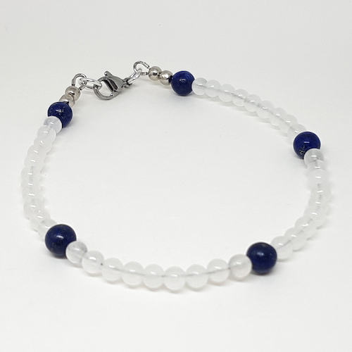 Anklet Collection - Sodalite and Frosted Quartz