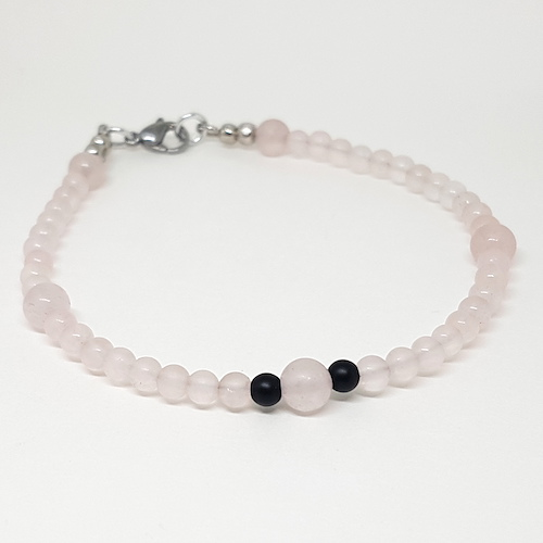 Anklet Collection - Rose Quartz and Matte Onyx